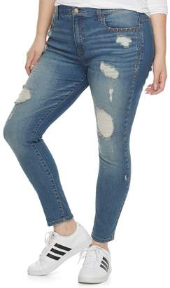 Mudd Plus Size Juniors' Studded Ripped Skinny Jeans