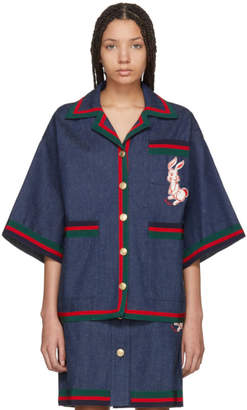 Gucci Indigo Denim Striped Piping Jacket