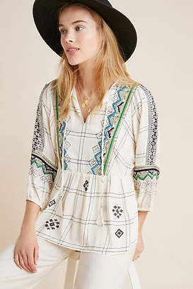 459536d3a3372 Vineet Bahl Brielle Embroidered Peasant Top
