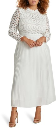 ELOQUII Lace Bodice Pleated Long Sleeve Evening Dress
