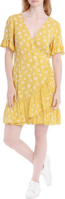 Miss Shop Pretty Wrap Dress - Yellow Clustier Ditsy