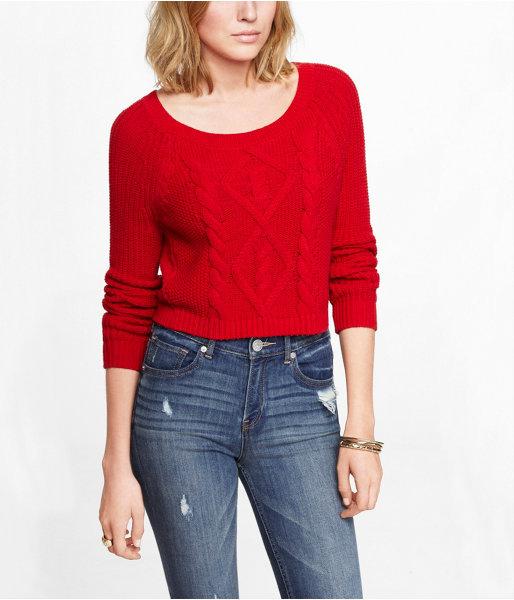 Cropped Mixed Stitch Crew Neck Sweater