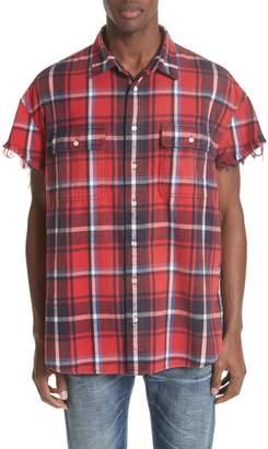 R 13 Oversize Cut Off Flannel Shirt
