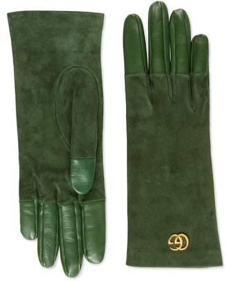 Gucci Viola Suede & Leather Gloves