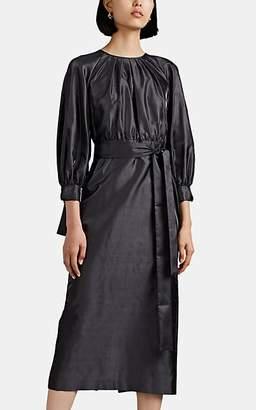 Giorgio Armani Women's Raw Silk Belted Dress - Gray