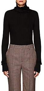 Yohji Yamamoto Women's Rib-Knit Wool-Blend Turtleneck Sweater - Black