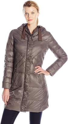 T Tahari Women's Outerwear New Down Coat with Gros Grain Trim