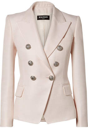 Balmain Double-breasted Woven Blazer - Pastel pink