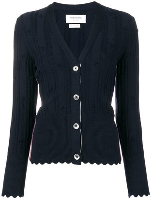 Thom Browne Flower V Neck Navy Cardigan
