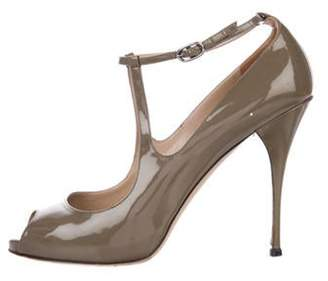 Valentino Patent Leather Ankle-Strap Sandals Olive Patent Leather Ankle-Strap Sandals