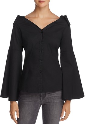 AQUA Bell Sleeve Poplin Shirt - 100% Exclusive $78 thestylecure.com