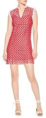 Sandro Textured Lace Split Neck Dress