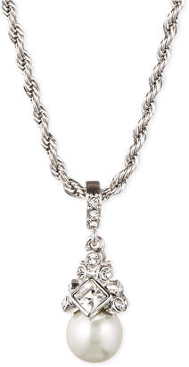 """Givenchy 16"""" Silver-Tone Crystal and Glass Pearl Pendant Necklace"""