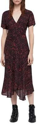 AllSaints Seeta Rosey Midi Floral Wrap Dress