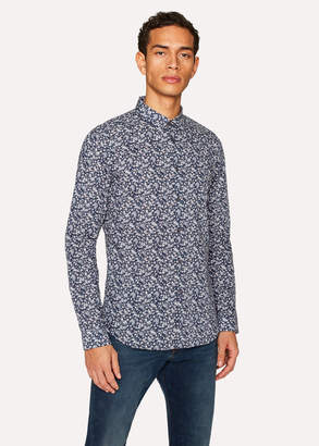 Paul Smith Men's Slim-Fit Navy 'Floral Leaves' Print Cotton Shirt