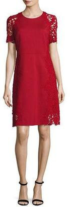Elie Tahari Hudson Short-Sleeve Lace-Trim Dress $398 thestylecure.com