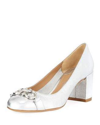 Salvatore Ferragamo Gancini Metallic Leather 55mm Pumps