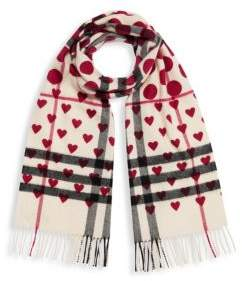 Burberry Giant Check Heart Print Scarf