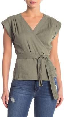 Frame Sleeveless Linen Wrap Blouse