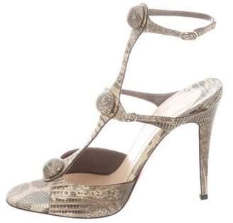 Christian Louboutin Lizard Ankle Strap Sandals
