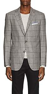 Pal Zileri MEN'S CHECKED WOOL-SILK TWO-BUTTON SPORTCOAT-GRAY SIZE 40 R