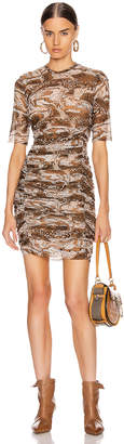 Ganni Printed Mesh Mini Dress in Tiger's Eye | FWRD
