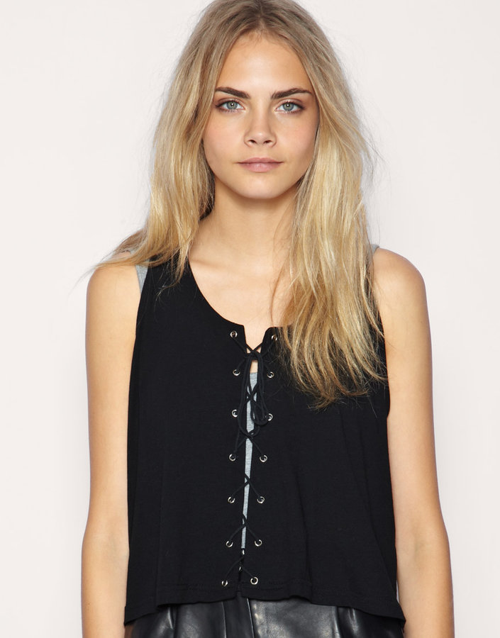 Minkpink Cross The Line Lace Up Tank Top