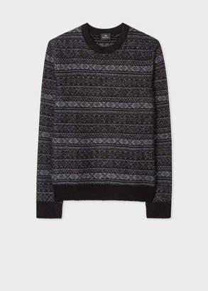Paul Smith Men's Black Fair Isle Wool-Blend Sweater