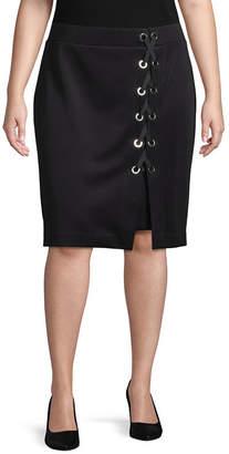 Bold Elements Lace Up Pencil Skirt - Plus