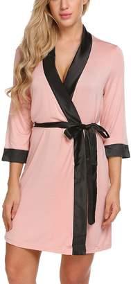 Ekouaer Women s Knee Length Dressing Gown Robe Nightwear df72db355