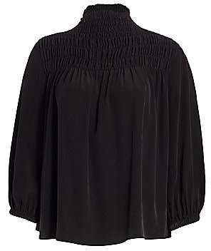 Frame Women's Smocked Three-Quarter Sleeve Silk Blouse