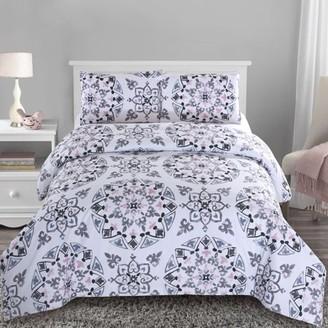 Style Quarters Callie Medallion 3pc Duvet Cover Set - Black Gray and Pink Medallion Print - 100% Cotton - Machine Washable - Includes 1 Duvet Cover + 2 Shams