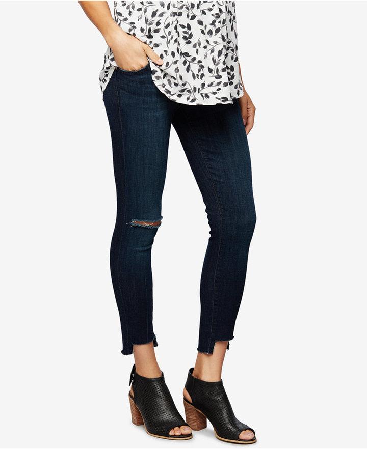 J BrandJ Brand Maternity Distressed Dark-Wash Skinny Jeans