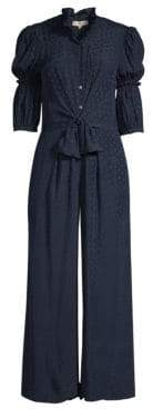 Rebecca Taylor Women's Silk Jacquard Jumpsuit - Navy - Size 8