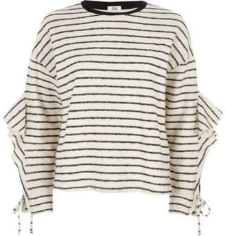 River Island Womens Cream stripe lfrill sleeve sweatshirt