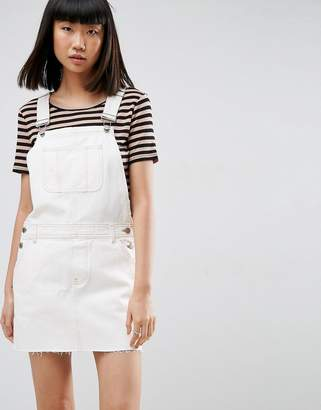 ASOS Denim Overall Dress in Off White With Tobacco Stitch $56 thestylecure.com