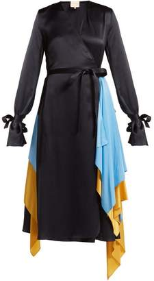 Roksanda Layered Silk Satin Wrap Dress - Womens - Blue Multi
