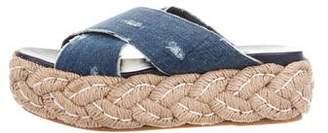 Miu Miu Denim Flatform Sandals