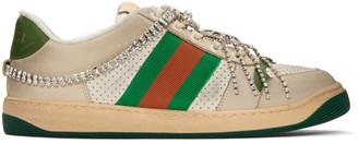 Gucci White Art Deco Screener Sneakers