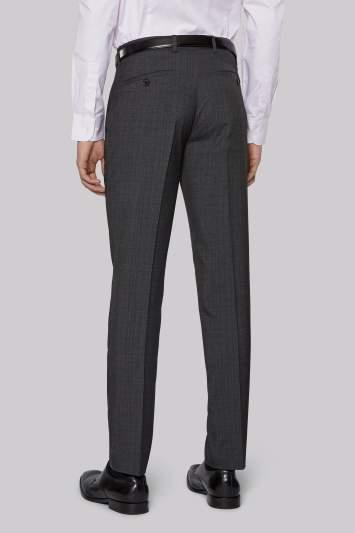 Moss Bros Slim Fit Charcoal Check Pants