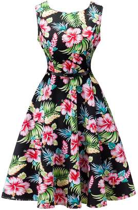 FEOYA Women's Sleeveless Print Round Neck Floral Vintage Dress