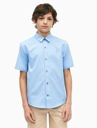 Calvin Klein boys logo button-down short sleeve shirt