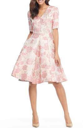 Gal Meets Glam Adair Pink Passion Rose Jacquard Fit & Flare Dress