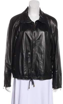 St. John Sport Leather Zip-Up Jacket