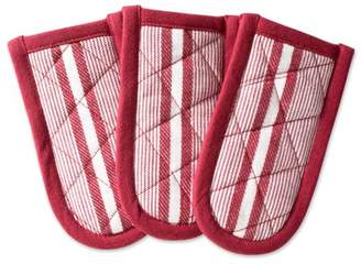 """Design Imports Barn Red Chef Stripe Kitchen Pan Handle Set, Set of 3, 6""""x3"""", 100% Cotton, Red"""