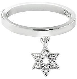 Silvertone Star Charm Ring