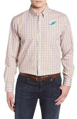 Cutter & Buck Miami Dolphins - Gilman Regular Fit Plaid Sport Shirt