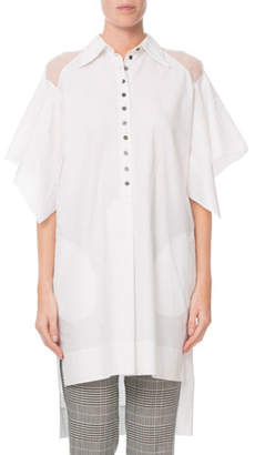 Roland Mouret Prima Sheer-Shoulder Flutter-Sleeve Blouse