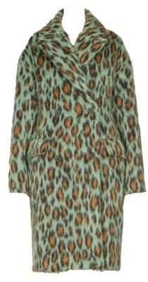 Kenzo Leopard Print Mohair Coat
