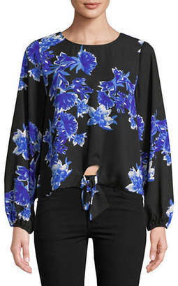 INC International Concepts Floral Tie Front Blouse